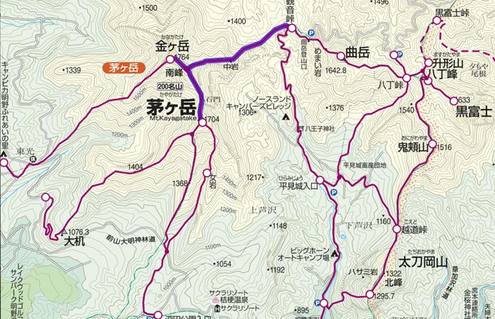 観音崎~金ヶ岳~茅ヶ岳登山コースの画像