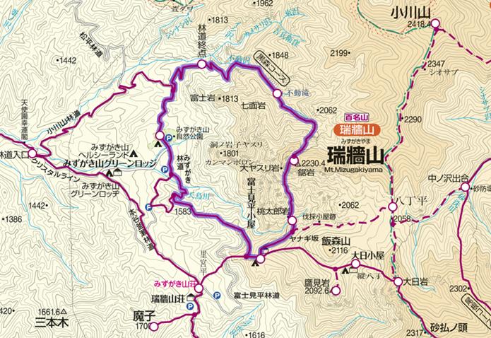 みずがき自然公園から瑞牆山への登山コース画像