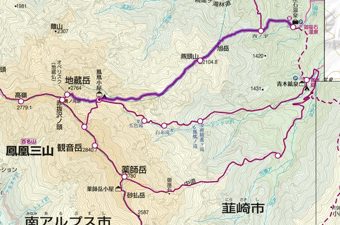 御座石温泉から地蔵岳の登山コース画像