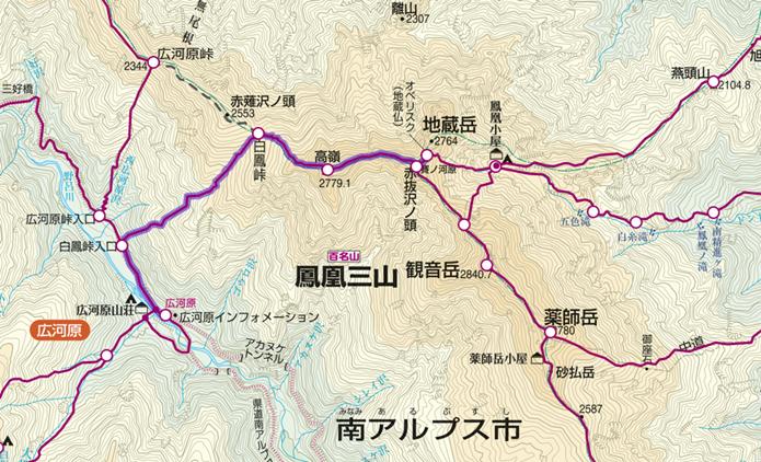 広河原から地蔵岳登山コースの画像