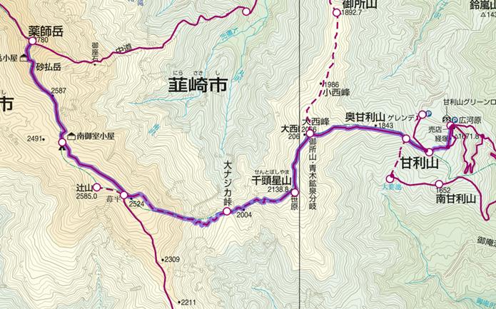 甘利山から薬師岳登山コース