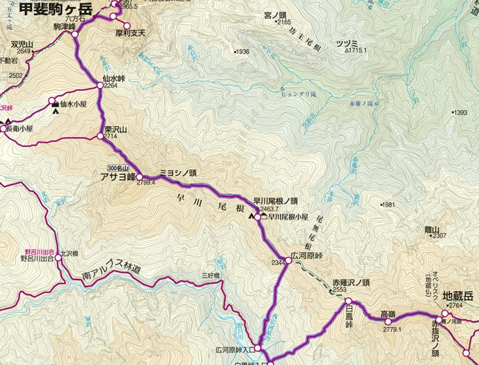 地蔵岳から甲斐駒ケ岳の縦走登山コース