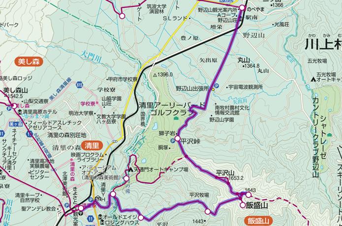 飯盛山から野辺山登山コース画像