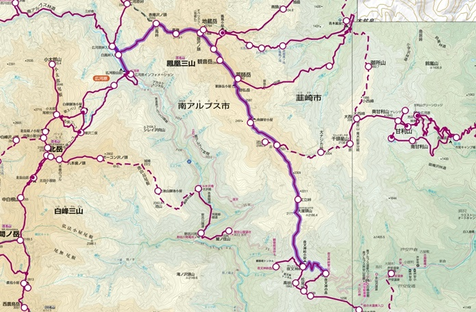鳳凰三山縦走コース図