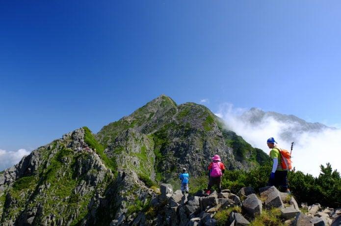 西穂高岳の登山者