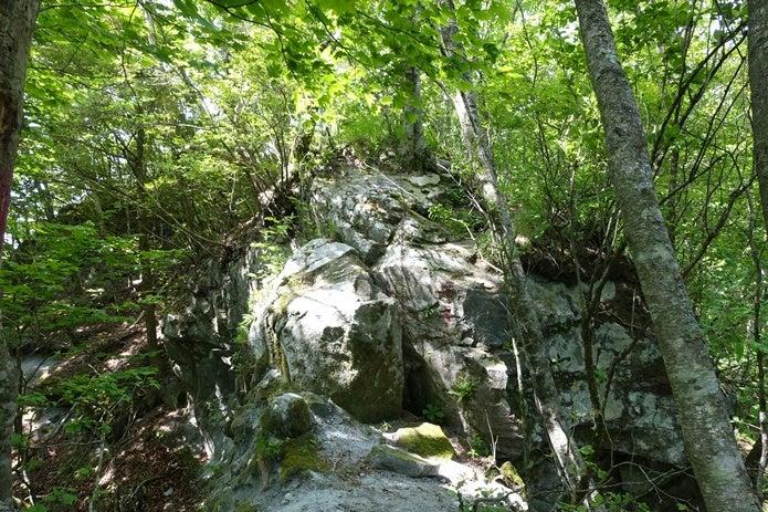 観音峠コースの岩場の写真