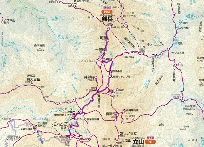 剱岳別山尾根コース図