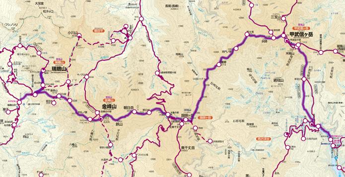 瑞牆山から金峰山、甲武信ヶ岳までの縦走画像