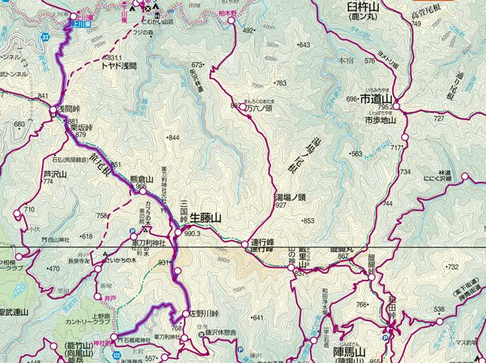 石楯尾神社から生藤山・三国山登山コースの画像
