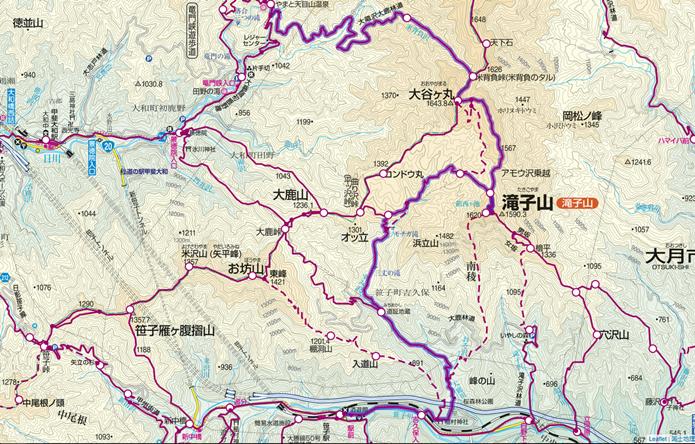 滝子山~大谷ヶ丸の縦走コース画像