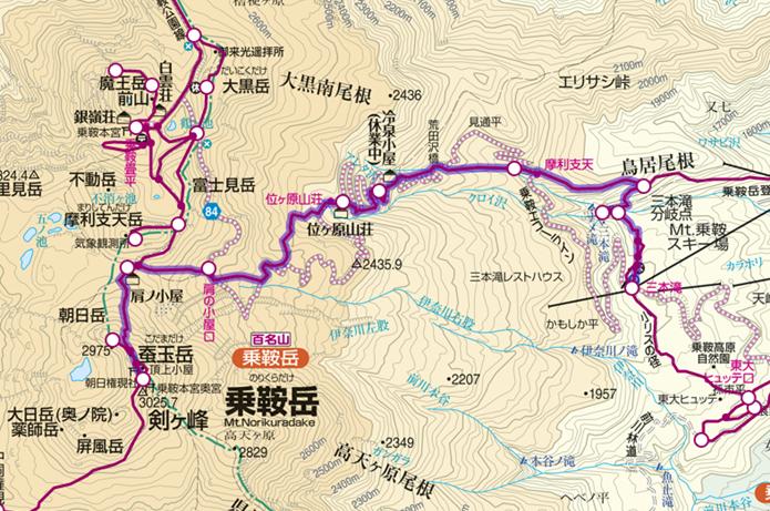 三本滝バス停~剣ヶ峰の登山コース画像