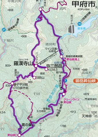 中央線の甲府駅から行ける昇仙峡登山コース