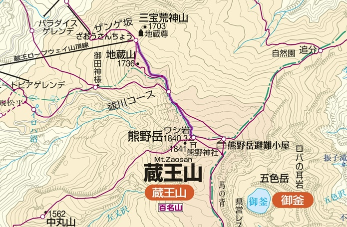 熊野岳ルート図