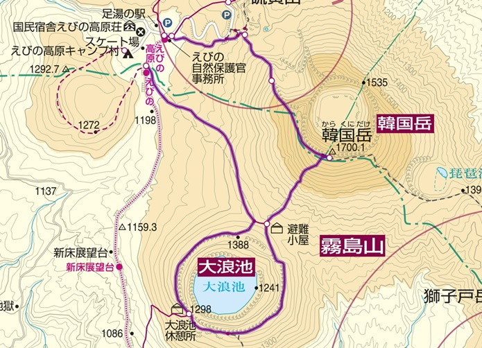 韓国岳コース図2