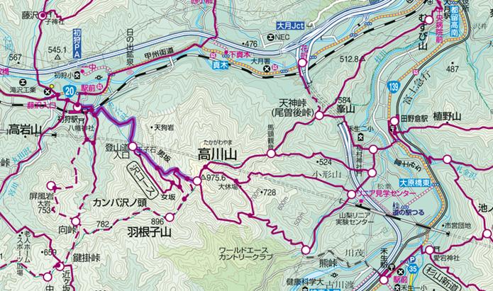 中央線の初狩駅から行ける高川山登山コース