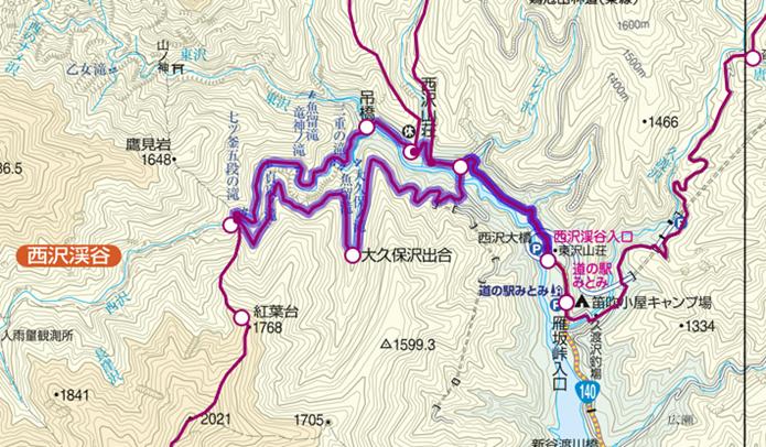 中央線の山梨市駅から行ける西沢渓谷登山コース