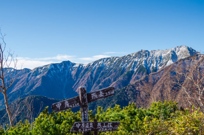 合戦尾根から見る大天井岳