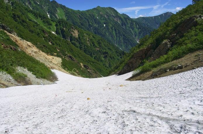 針ノ木岳雪渓上から見た図