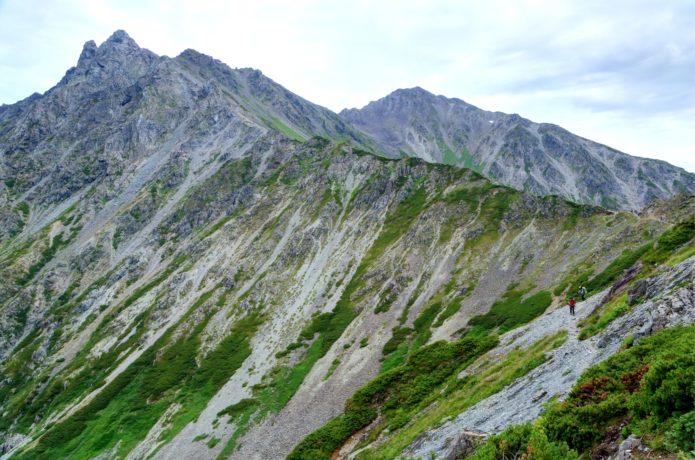 千丈乗越付近から見る槍ヶ岳