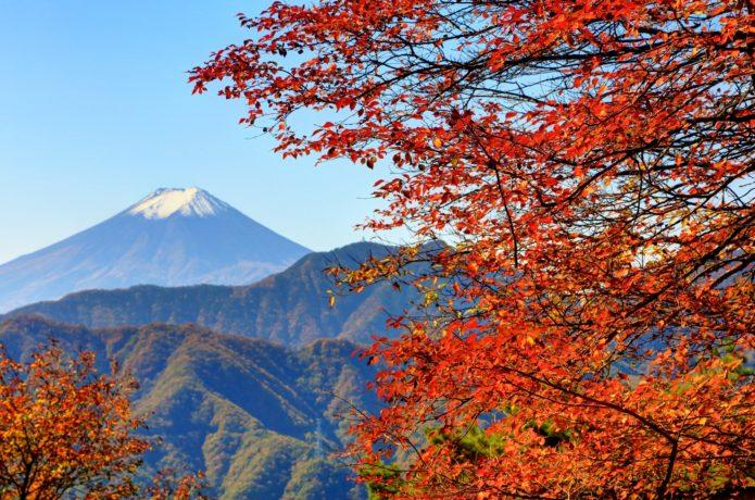 中央線の笹子駅から行ける滝子山の紅葉