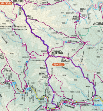 高水三山~棒ノ折山登山コース画像