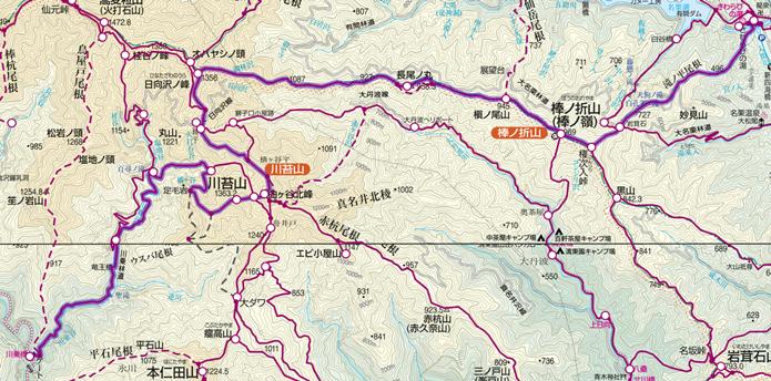 川苔山~棒ノ折山登山コース画像