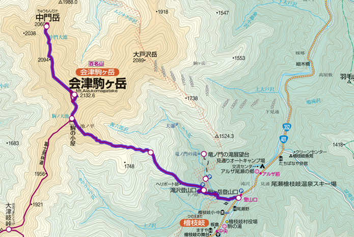 滝沢駐車場~会津駒ヶ岳~中門岳登山コース画像