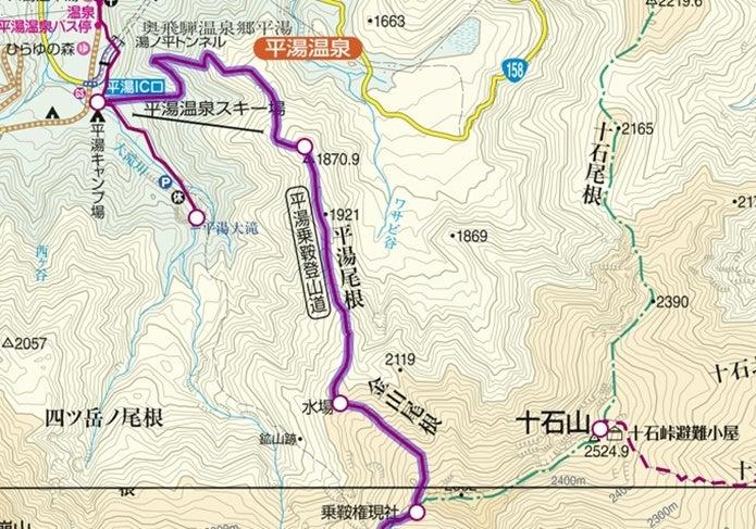 乗鞍岳新登山道コース図1