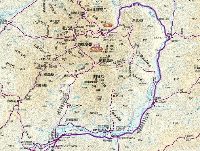 上高地~涸沢までのルート図