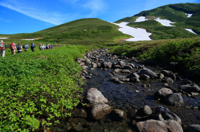 河原宿と登山者
