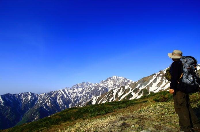 登山者と北アルプス