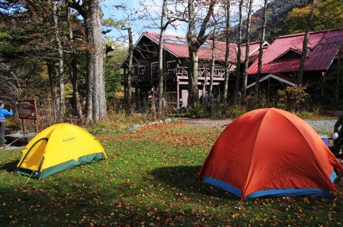 徳沢園のキャンプ場