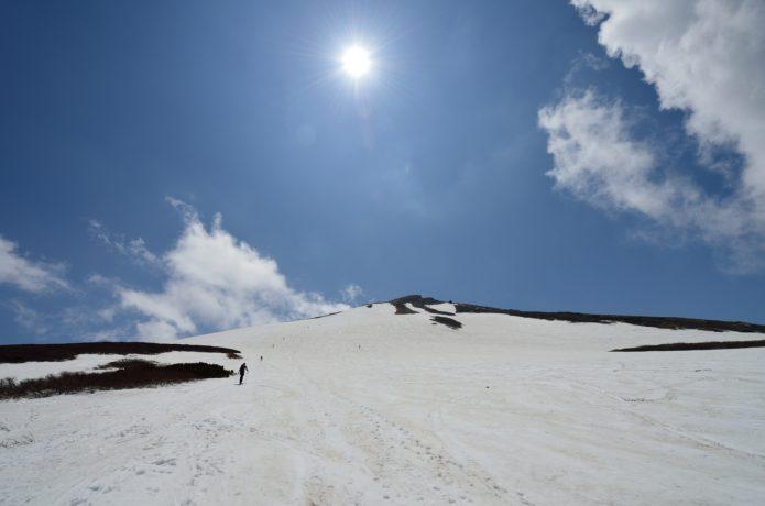 鳥海山北東斜面をスキーする人