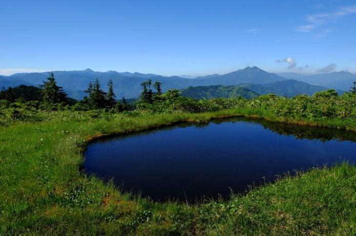 会津駒ケ岳山頂近くの池塘