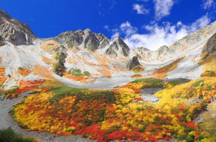 涸沢カールの色とりどりの紅葉