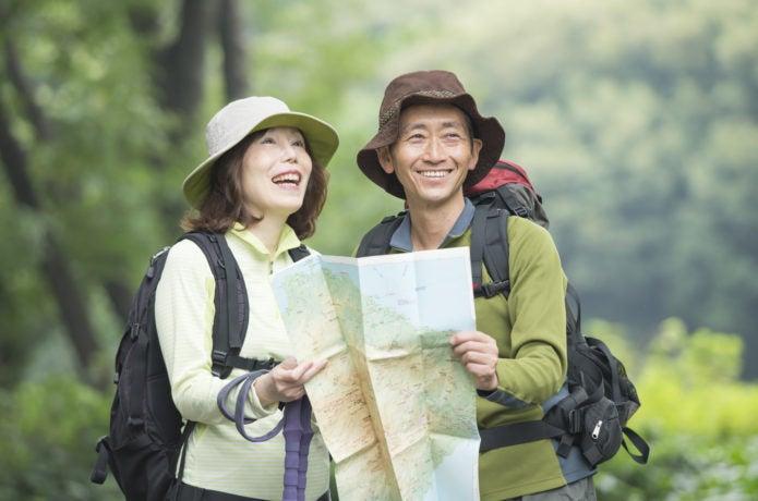 山登り講習会で地図読み